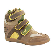 Mustang 1126501 Womens Wedge Trainers Strap Textile Brown Beige New Shoes