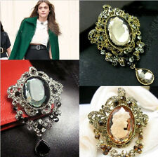 Classic Chic Punk Gray CAMEO Lady Rhinestone Vintage Style BROOCH Party Jewelry