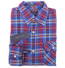 Tommy Hilfiger Premium Denim Men Long Sleeve Button Down Plaid Casual Shirt