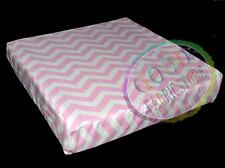 "ae320tw Pink Off White  Zig Zag ""W"" Wave Cotton Canvas 3D Box Cushion Cover Size"