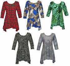 New Fashion Ladies Plus Size waterfall flared Dress top 16 18 20 22 24 26