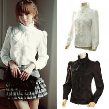 New High Neck Frilly Womens Satin Vintage Victorian Ruffle Top Shirt Puff Blouse