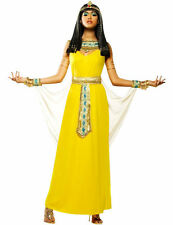 Ladies Queen Cleopatra Egyptian Goddess Outfit Yellow Fancy Dress Costume