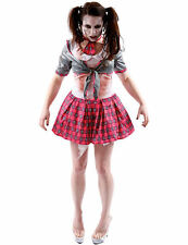 Ladies Dead School Girl Zombie Horror Halloween Fancy Dress Costume