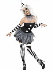 Adult Ladies Sinister Pierrot Circus Clown Halloween Fancy Dress Outfit Costume