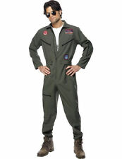 Mens Licensed Top Gun Aviator Pilot 80s Movie Fancy Dress Costume