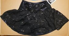NEW SEQUIN FOIL DANCE Skate Circle Skirt attached trunks Black Ch/ladies Showy