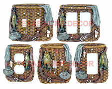 Fishing Light Switch Plate Outlet Covers Lodge Cabin Decor Woven Pattern