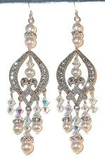 "SWAROVSKI CRYSTAL & PEARL Elements 3"" Long Chandelier Earrings CLEAR AB & WHITE"