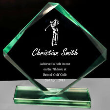 Personalised Cube Jade Glass Golf Award Trophy, Laser Engraved Text and Logo