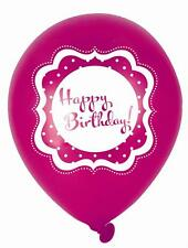 Perfectly Pink Birthday 10 inch Latex Balloons x 6 - All under 1 listing