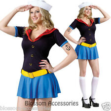 C924FW Ms Popeye Sailor Women Halloween Fancy Dress Adult Costume Outfit + Hat