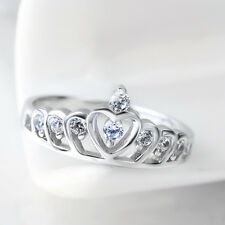 Pure 925 Sterling Silver Pave Half White CZ Cz Stackable Eternity Wedding Rings
