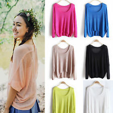 New Fashion Women Lady Loose Batwing Sleeve Knit T-Shirt Blouse Tops Pullover