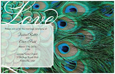 50 100 Peacock FEATHER 5X7 WEDDING Personalized Invitations  GREEN Custom