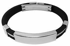 Men's ID Bracelet rubber & stainless steel engraved personalised + gift pouch YF