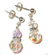 CLEAR AB Crystal Earrings Sterling Silver Swarovski Elements Pierced & Clip-on