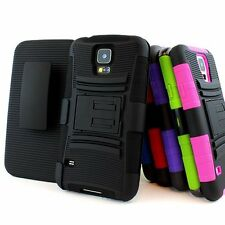 For Samsung Galaxy S5 SV Rugged Hybrid Hard Case Cover Belt Clip Holster w/Stand