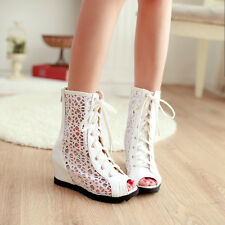 Womens Gladiator Ankle Calf Boots Open peeptoe Lace Up Wedge Hiden Heels Hollow