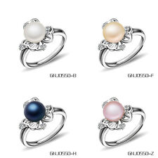Wholesale 925 Sterling Silver Genuine Freshwater Cultured Pearl Ring 4 Colors