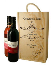 Personalised Wooden Wine Box  for Two Wine Bottles, Engraved Wedding Gift