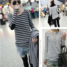 New Womens Striped Bottom Crew Neck Long Sleeve T-Shirt Basic Tee Top Large Size