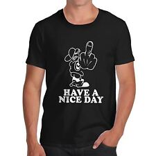 Mens Cotton Novelty Rude Funny Design Have A Nice Day T-Shirt White Medium