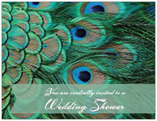 20 Peacock FEATHER SHOWER INVITATIONS Flat Cards Envelopes & Seals