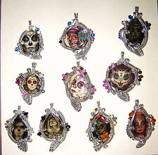 10 Fancy Wire Wrapped Sugar Skull Day of the Dead Gothic Tattoo Art Pendant OOAK