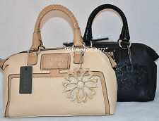 GUESS Honolulu Box Satchel Bag Purse Handbag Sac Flower Charm Black Beige New