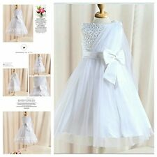 W8910 White Christening Wedding Party Dress Flower Girls Dresses AGE SZ 2 to 12Y