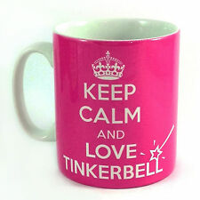 NEW KEEP CALM AND LOVE TINKERBELL GIFT MUG CUP PRESENT FAIRY PETER PAN PINK