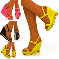 NEW Ladies Bright Neon Wedge Gold Chain Ankle Straps Platform Shoes Sandals Size