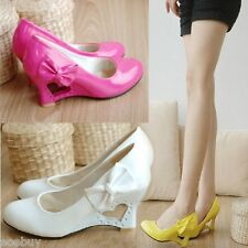 Lady's Heart Wedge Heel Pumps Synthetic Leather Wedding Bridal Shoes UK Sz D022