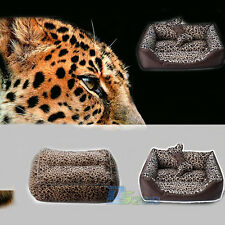 Pet Dog Cat Leopard Print Bed House Kennel Handmade Cotton Sofa Bed Square S-L