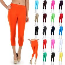 Seamless Spandex Solid Capri Leggings Under Knee Length Stretchable ONE SIZE