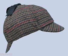 Deerstalker Sherlock Holmes Biege Brown Tweed Pattern Hat