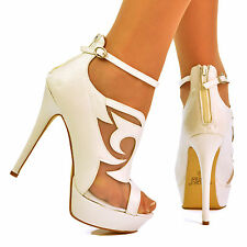 NEW Ladies White Sexy Cut Out Net Lace Stiletto High Heels Shoe Booties Size 3-8