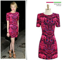 Just Cavalli New Fashion Women's Retro Wine Red Party Casual Short Sleeves Dress