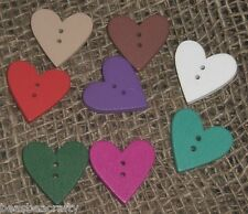 10/25 COLOURED WOODEN HEART SHAPED BUTTONS  #23MM# CRAFTS/SCRAPBOOKING