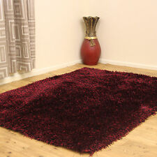 MEDIUM - EXTRA LARGE THICK 6CM DENSE RED BLACK SHINY SHIMMERING SHAGGY RUGS