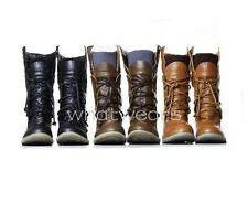 Womens Lace-Up Buckle Strap Ankle Fashionable Flattie Boots Shoes M2063 MUS