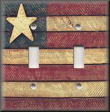 Light Switch Plate Cover - Primitive American Flag - USA - Country Home Decor