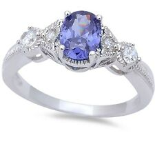 Oval Cut Tanzanite & Cz Fashion  .925 Sterling Silver Ring Sizes 6-9