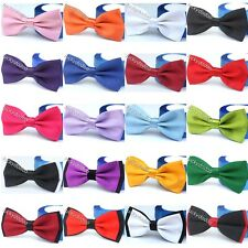 New Classic Solid Satin Mens Tuxedo Wedding Party Adjustable Necktie Bow Ties