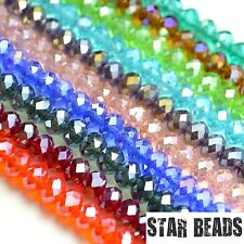 FACETED RONDELLE CRYSTAL GLASS BEADS PICK AB COLOUR & SIZE 4MM,6MM,8MM,10MM,12MM