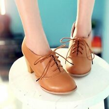 Vintage Retro Women Lace Up Oxford Casual Block Chunky High Heel Shoes Plus Size