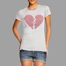 Women's Broken Heart Rhinestone Gems Diamante T Shirt