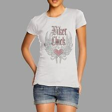 Women's Biker Chick Heart Wings Rhinestone Diamante T Shirt  Adults Sizes 10-16