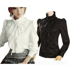 Black/White High Neck Blouse Womens Vintage Top Victorian Ruffle Shirt 8 6 4 2 0